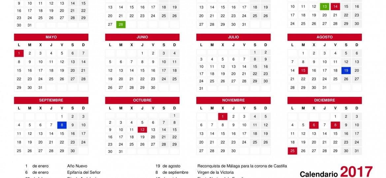 Calendario de fiestas laborales de Andalucía 2017