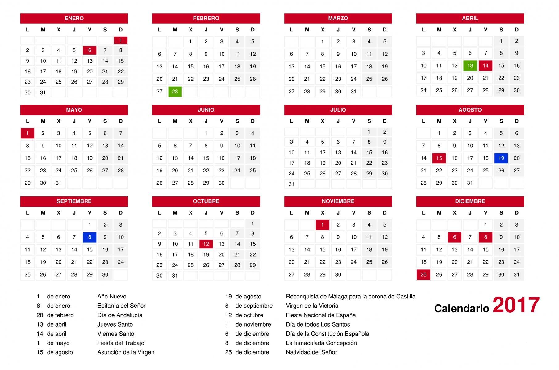 calendario de fiestas laborales en andaluc a para 2017 mahos