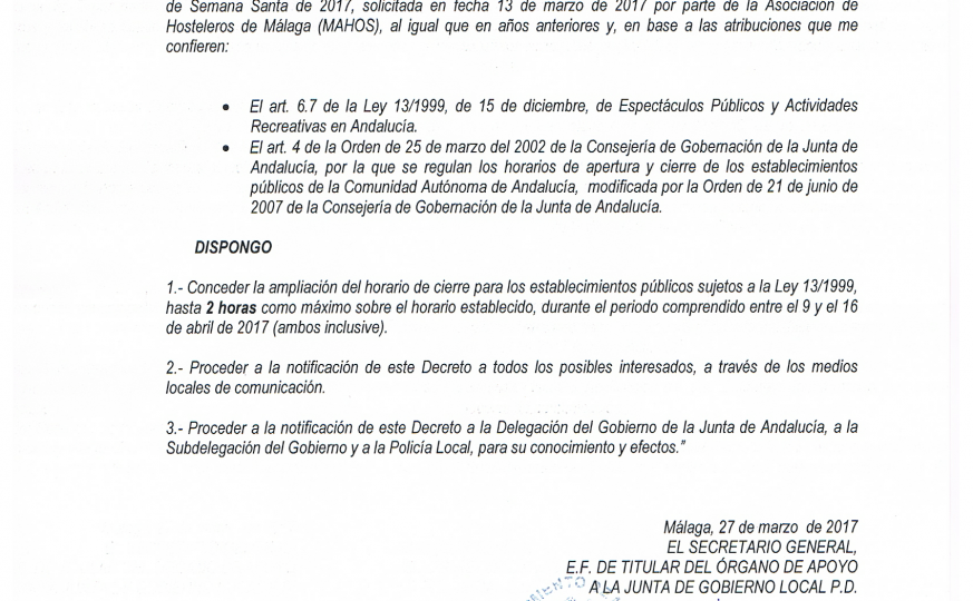 Ampliación horario Málaga S.S. 2017 (Demo)